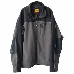 CAT Black Grey Fleece Lined Light Jacket 2XL